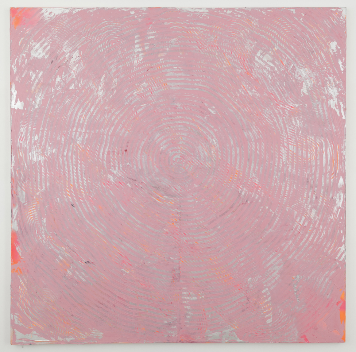 "<p><span class=""name"">Adam Bateman</span><br><em>Pink and Silver</em><span class='media'>acrylic and spray paint on canvas</span>72 x 72 in  (182.9 x 182.9 cm)<br>2014<br><a class='inquire' href='mailto:info@gildargallery.com?subject=Artwork Inquiry ABAT0006&body=I am interested in finding out more about Pink and Silver by Adam Bateman'>Inquire</a></p>"