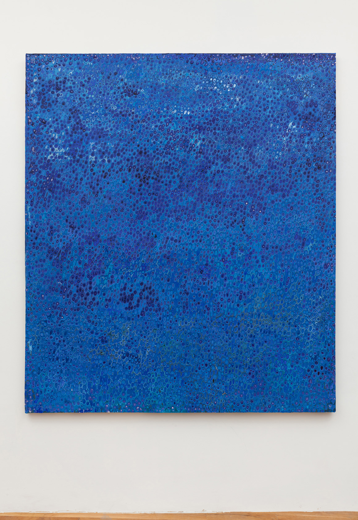 "<p><span class=""name"">Andrew Jensdotter</span><br><em>Blue 92</em><span class='media'>Carved latex on canvas</span>80 x 68 in (203.2 x 172.7 cm)<br>2018<br></p>"