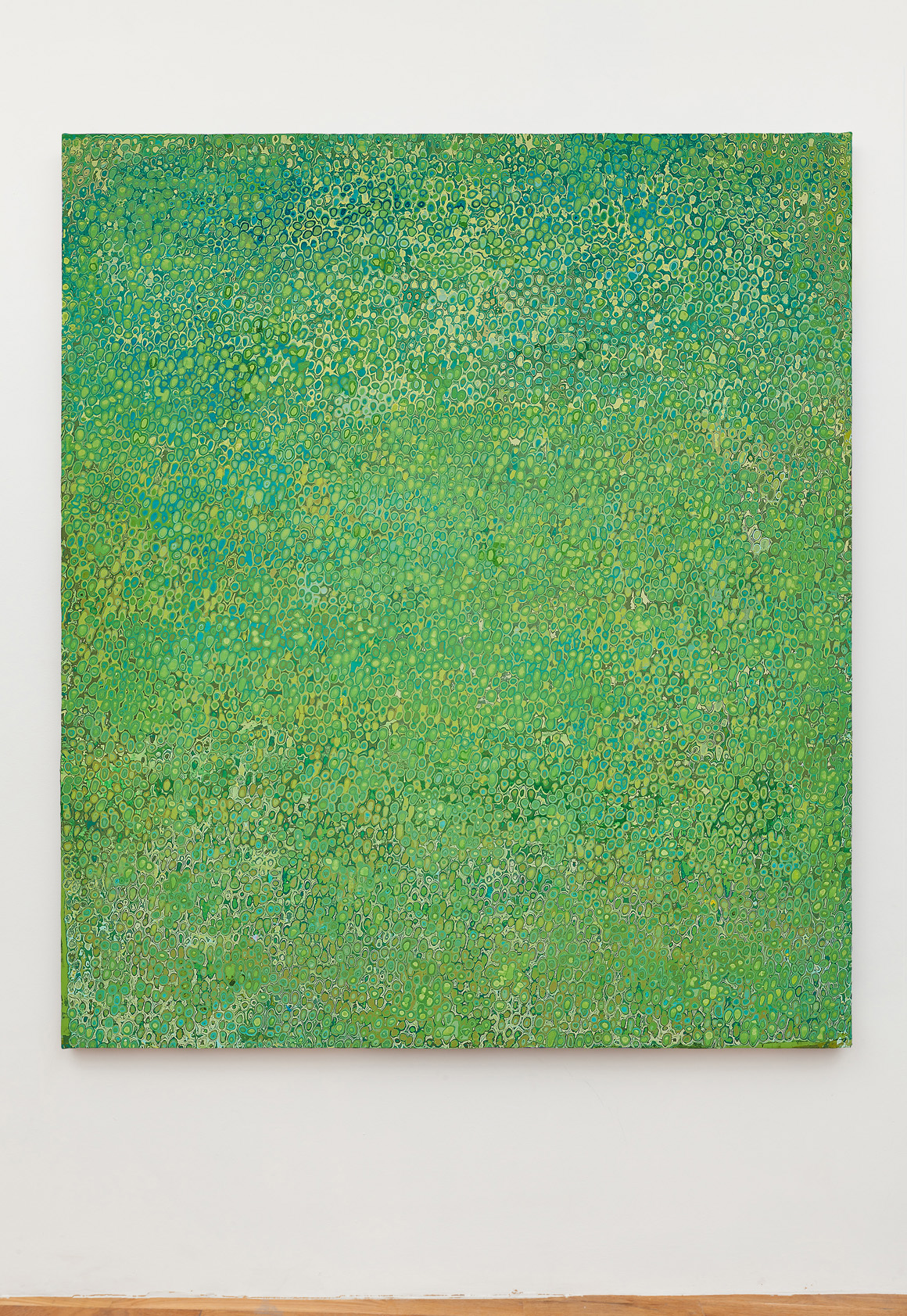 "<p><span class=""name"">Andrew Jensdotter</span><br><em>Green 79</em><span class='media'>Carved latex on canvas</span>80 x 68 in (203.2 x 172.7 cm)<br>2018<br></p>"