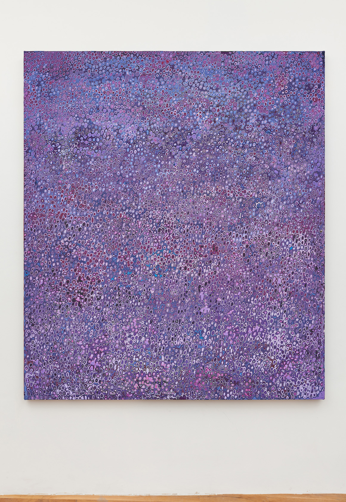 "<p><span class=""name"">Andrew Jensdotter</span><br><em>Purple 101</em><span class='media'>Carved latex on canvas</span>80 x 68 in (203.2 x 172.7 cm)<br>2018<br></p>"