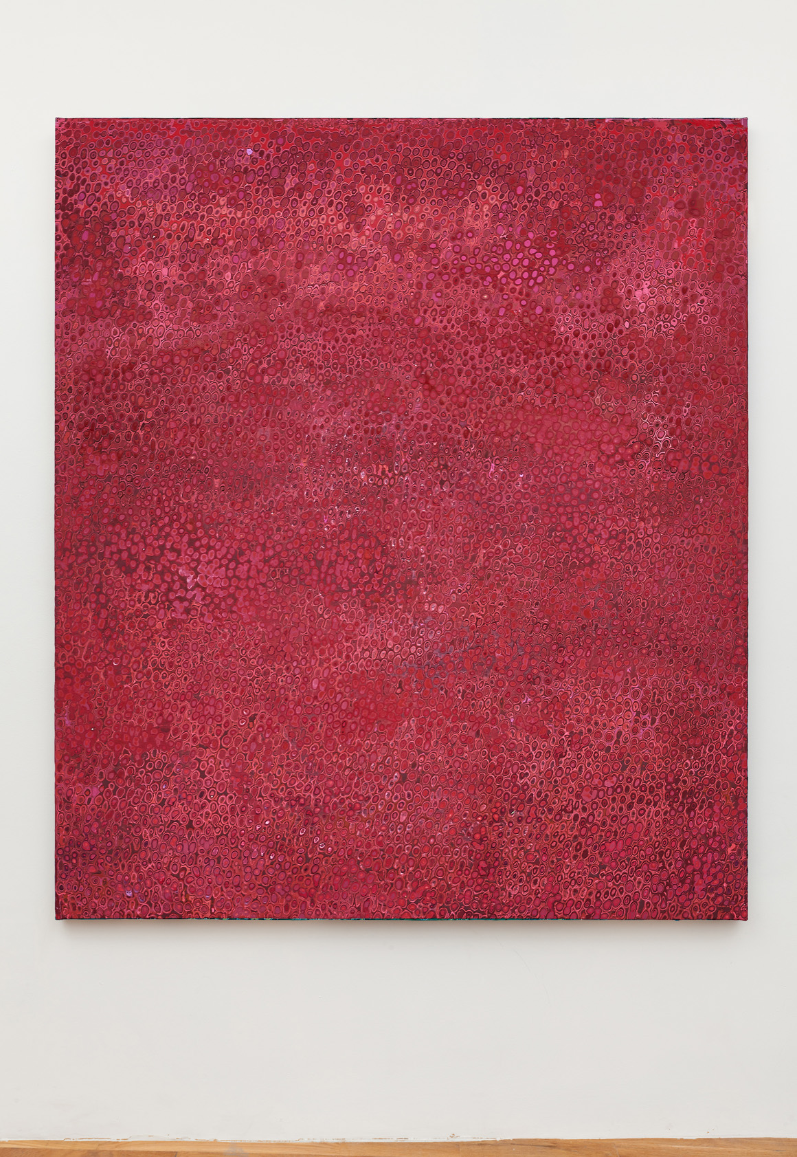 "<p><span class=""name"">Andrew Jensdotter</span><br><em>Red 75</em><span class='media'>Carved latex on canvas</span>80 x 68 in (203.2 x 172.7 cm)<br>2018<br></p>"