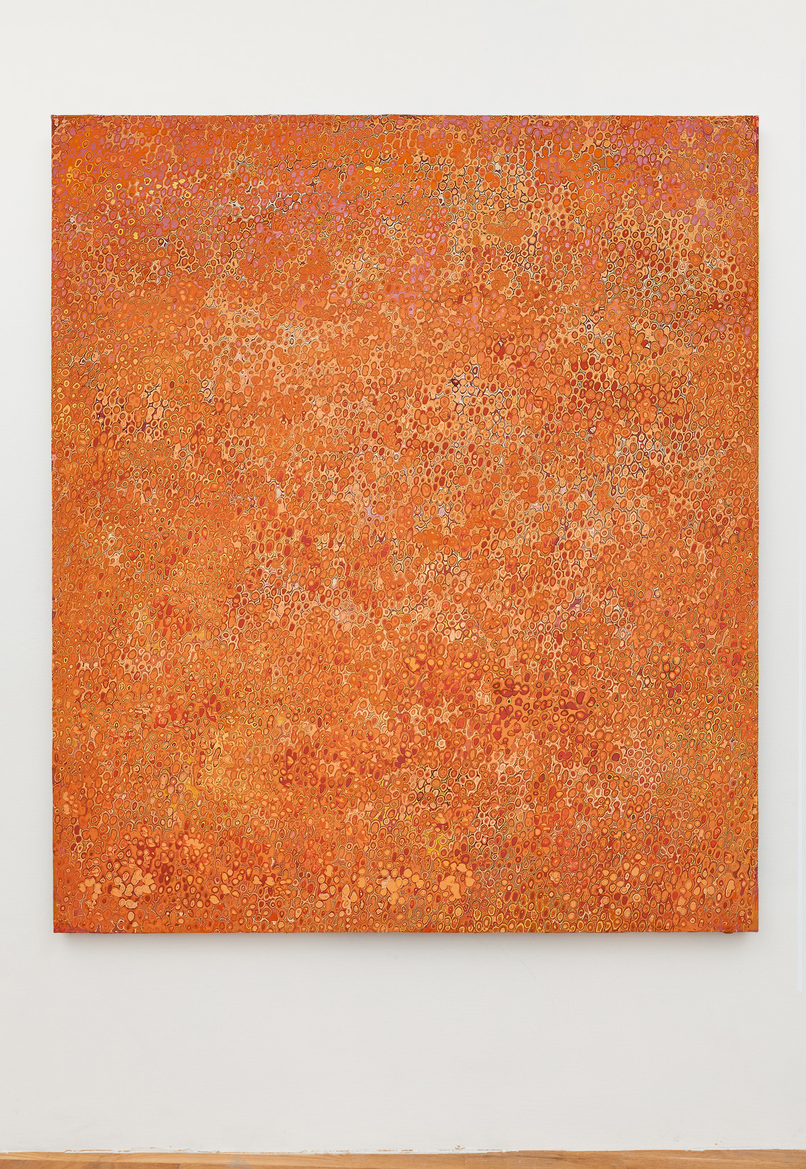 "<p><span class=""name"">Andrew Jensdotter</span><br><em>Orange 70</em><span class='media'>Carved latex on canvas</span>80 x 68 in (203.2 x 172.7 cm)<br>2018<br></p>"