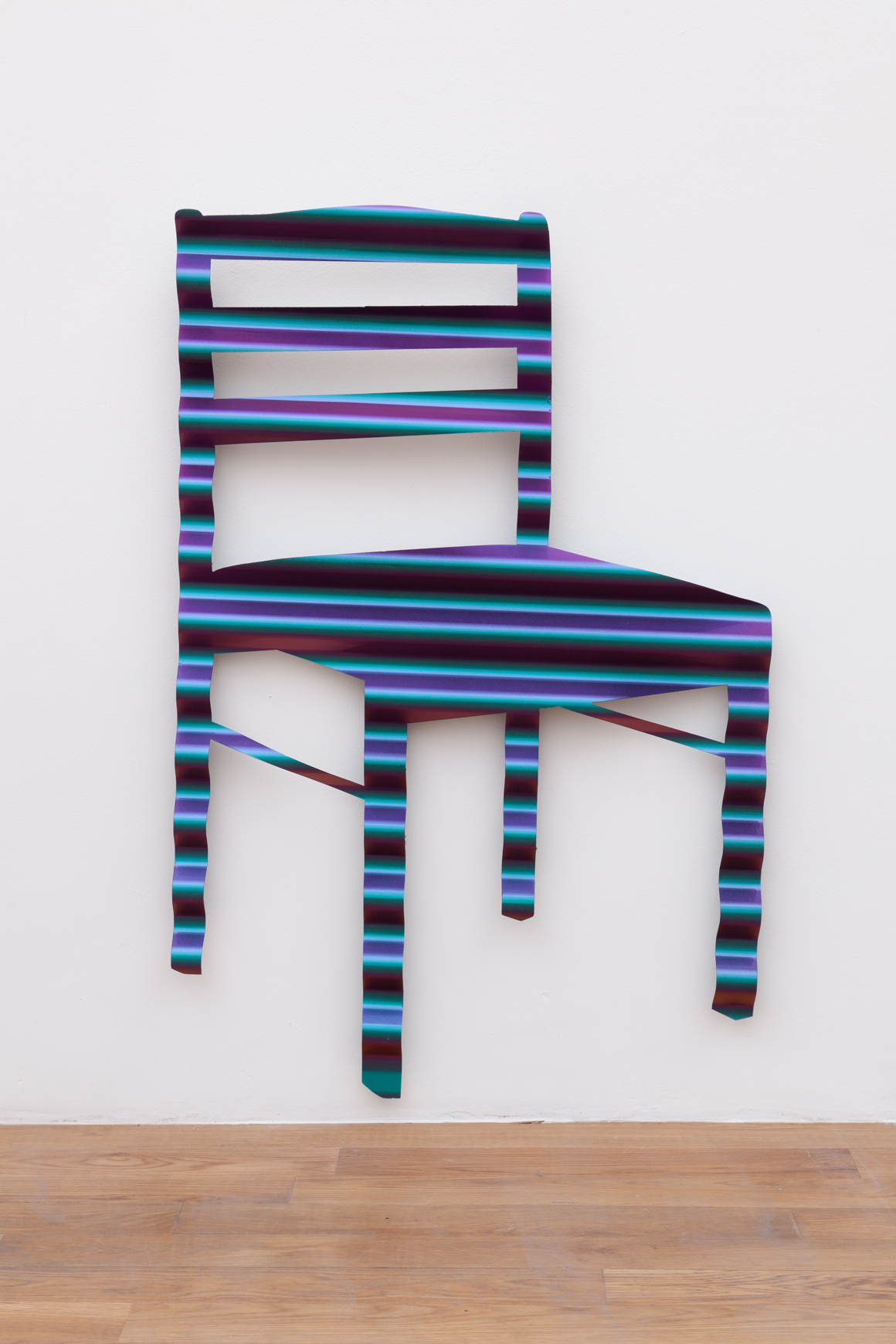 <p><em>2 Chairs</em><span class='media'>Chameleon auto paint on corrugated steel</span>35 x 23 in  (88.9 x 58.4 cm)<br>2017<br><a class='inquire' href='mailto:info@gildargallery.com?subject=Artwork Inquiry DOBE0028&body=I am interested in finding out more about 2 Chairs by Dmitri Obergfell'>Inquire</a></p>