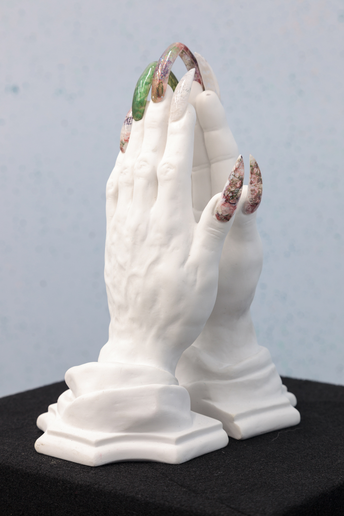 <p><em>Praying Nail Tips (Marble)</em><span class='media'>plaster, bejeweled, acrylic nails</span>10 x 7.5 x 5 in  (25.4 x 19.1 x 12.7 cm)<br>2017<br><a class='inquire' href='mailto:info@gildargallery.com?subject=Artwork Inquiry DOBE0036&body=I am interested in finding out more about Praying Nail Tips (Marble) by Dmitri Obergfell'>Inquire</a></p>
