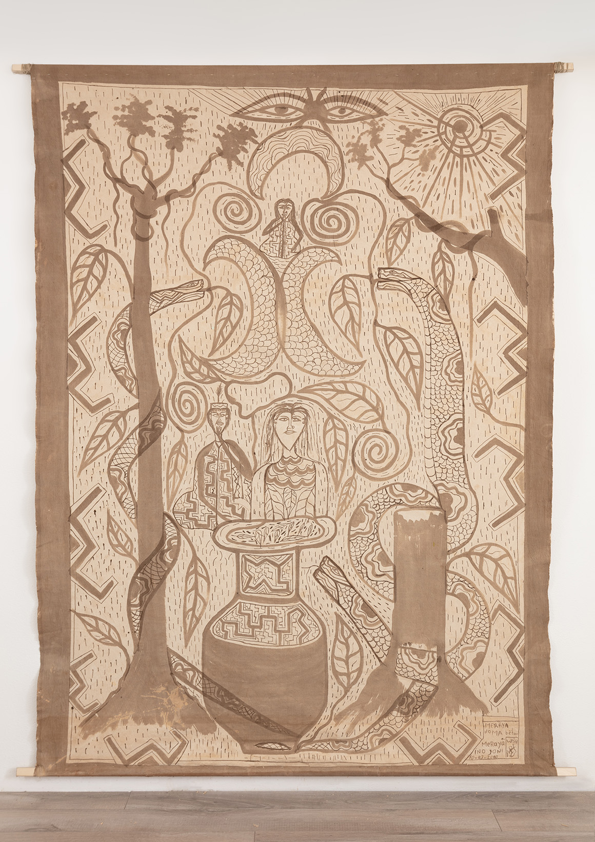 """<p><span class=""""name"""">Filder Augustín Peña</span><br><em>La Mujer Curandera y el Hombre Jaguar Curandero</em><span class='media'>Ayahuasca on fabric</span>81 x 62 in(205.7 x 157.5 cm)<br>2018<br><a class='inquire' href='mailto:info@gildargallery.com?subject=Artwork Inquiry FAPE0005&body=I am interested in finding out more about La Mujer Curandera y el Hombre Jaguar Curandero by Filder Augustín Peña'>Inquire</a></p>"""