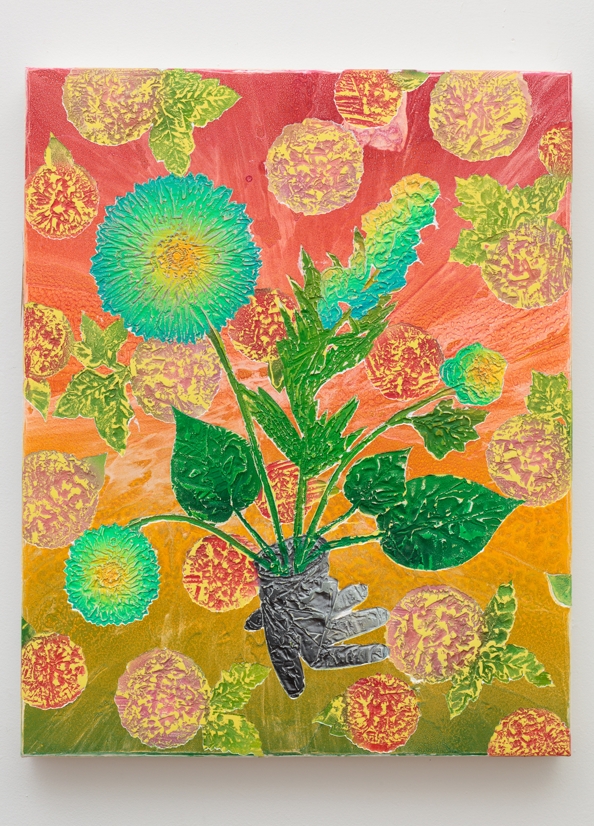 "<p><span class=""name"">Joey Cocciardi</span><br><em>Blooming-General-Tree</em><span class='media'>Rubber, resins and paint on canvas</span>24 x 30 in (61 x 76.2 cm)<br>2017<br><a class='inquire' href='mailto:info@gildargallery.com?subject=Artwork Inquiry JCOC0038&body=I am interested in finding out more about Blooming-General-Tree by Joey Cocciardi'>Inquire</a></p>"