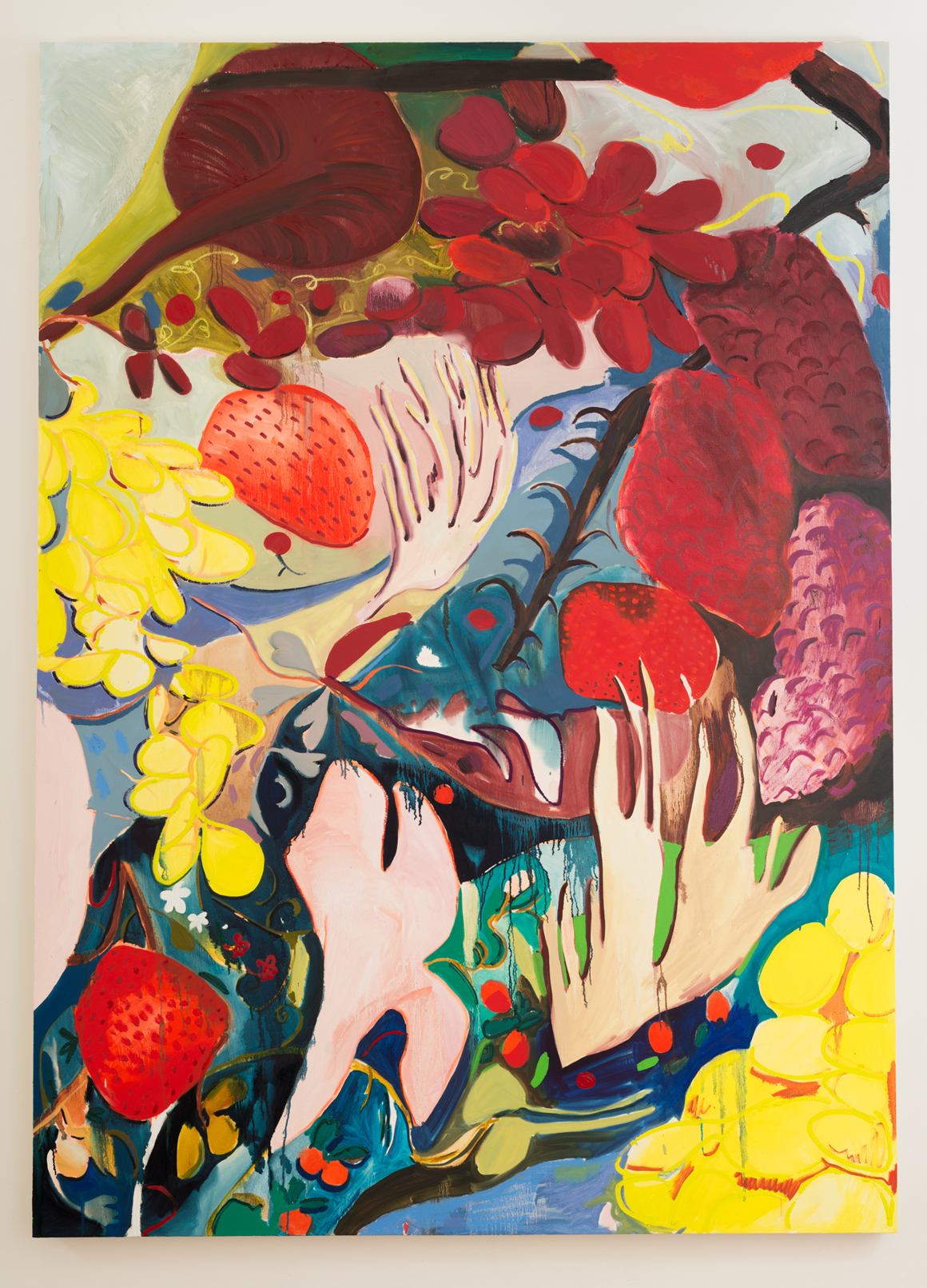 """<p><span class=""""name"""">Jasmine Little</span><br><em>Fruit Still Life</em>92 x 66 in (233.7 x 167.6 cm)<br>2018<br><a class='inquire' href='mailto:info@gildargallery.com?subject=Artwork Inquiry JLIT0008&body=I am interested in finding out more about Fruit Still Life by Jasmine Little'>Inquire</a></p>"""