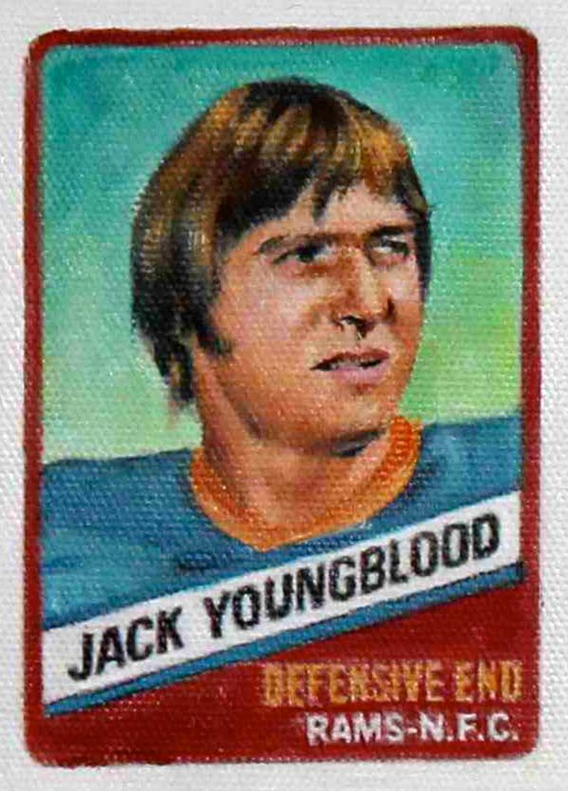 "<p><span class=""name"">Jim Thompson</span><br><em>Jack Youngblood (1977 series)</em><span class='media'>oil on canvas</span>4 x 3in<br>2012<br></p>"