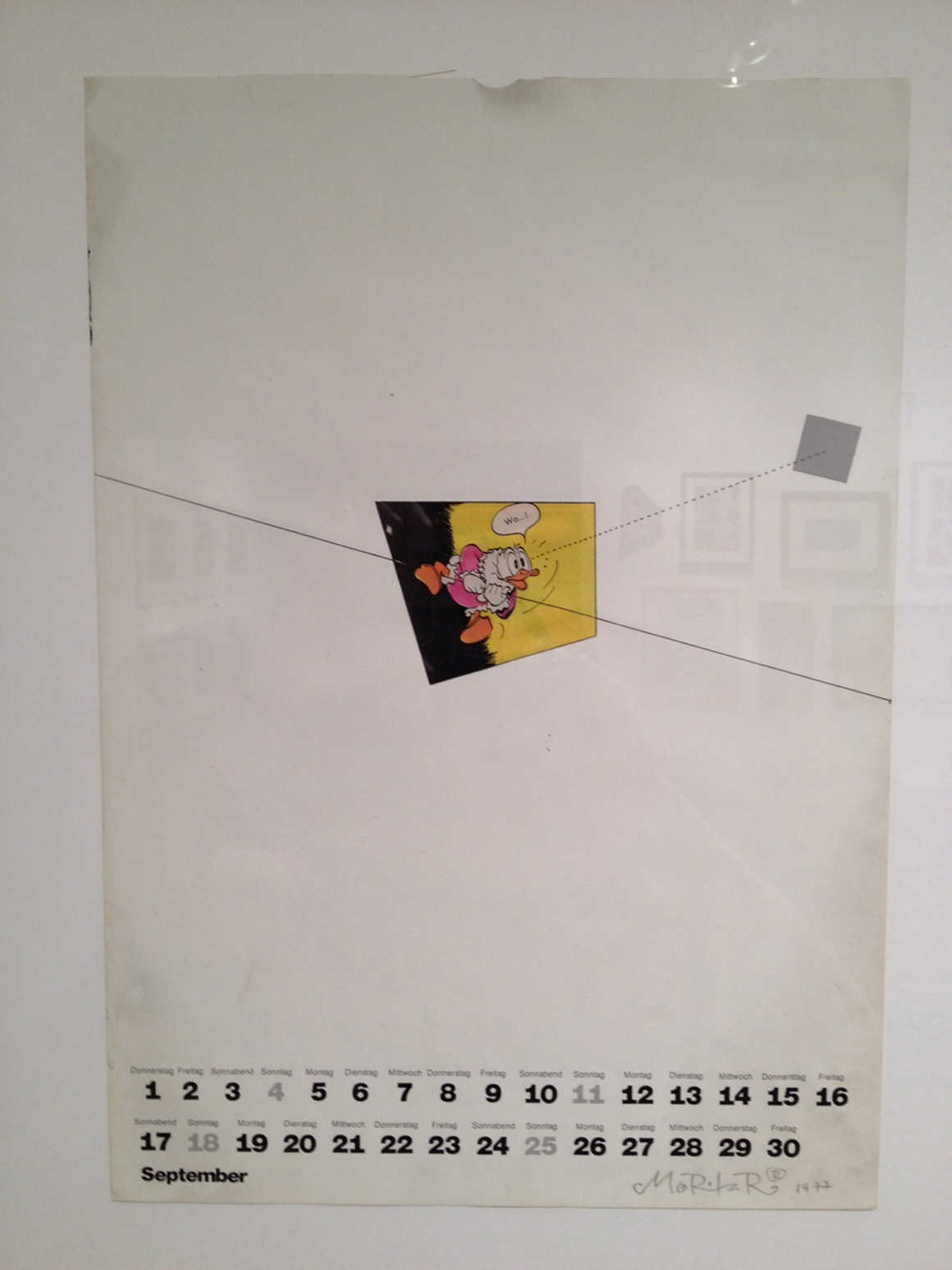 <p><em>Calendar 1977 September</em><span class='media'>collage</span>16 x 11.25 in  (40.6 x 28.6 cm)<br>20.75 x 16.75 in  (52.7 x 42.5 cm) Framed (framed)<br>1977<br><a class='inquire' href='mailto:info@gildargallery.com?subject=Artwork Inquiry MREI0017&body=I am interested in finding out more about Calendar 1977 September by Moritz Reichelt'>Inquire</a></p>