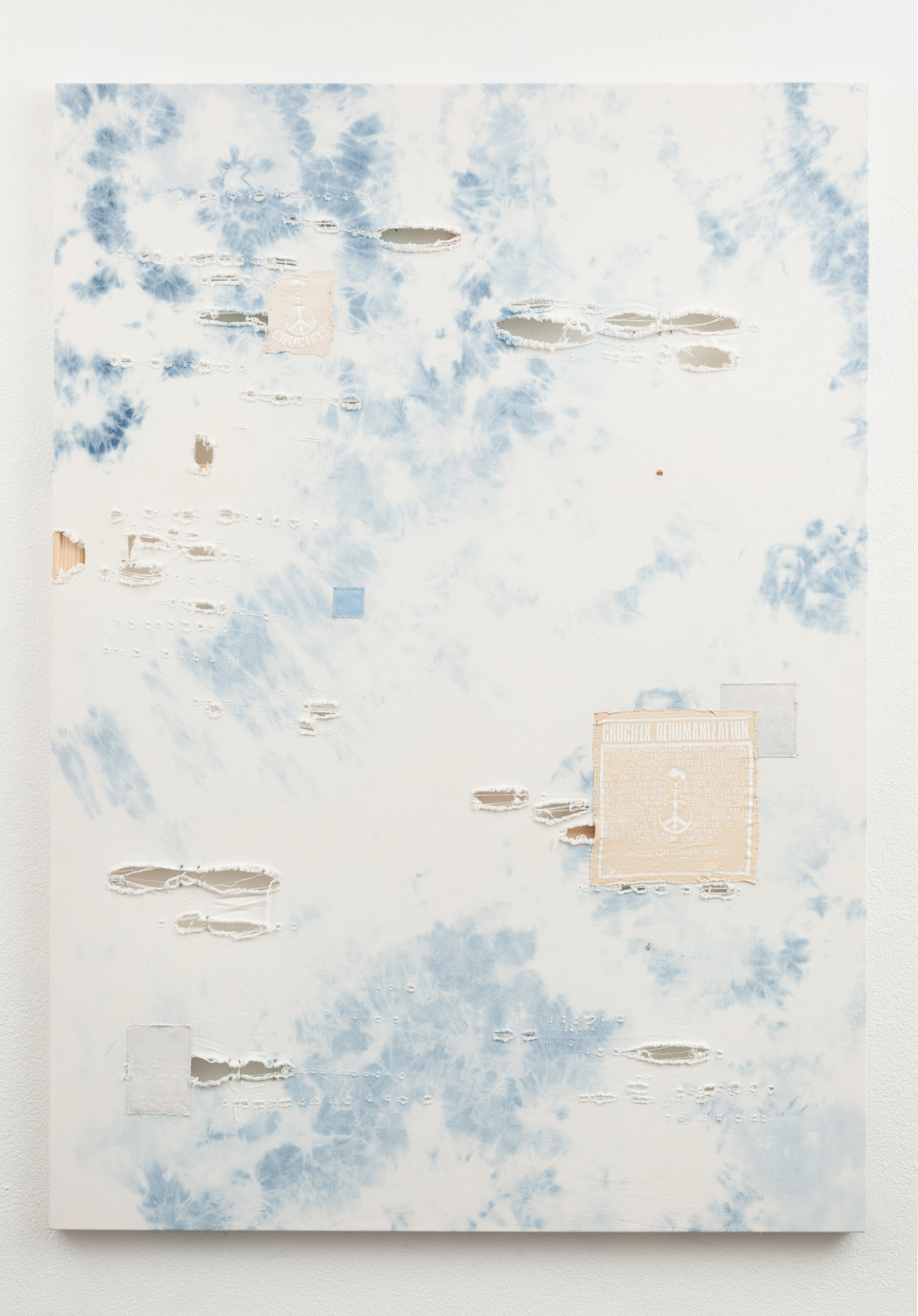 "<p><span class=""name"">Zach Reini</span><br><em>Untitled Crucifix (Power Is Power)</em><span class='media'>Bleach, dental floss, safety pins, canvas patches on denim</span>76 x 54 in  (193 x 137.2 cm)<br>2015<br></p>"