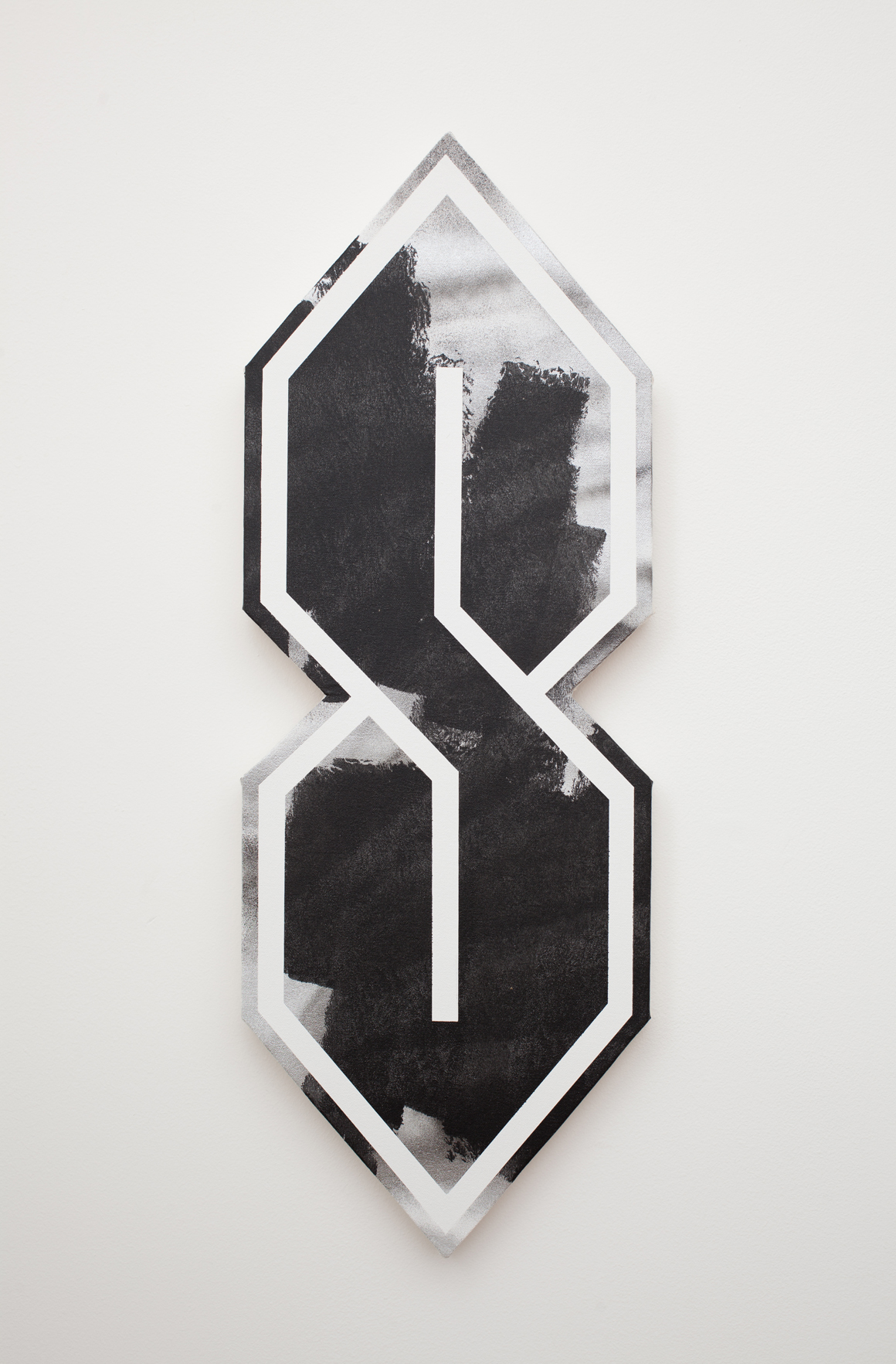 "<p><span class=""name"">Zach Reini</span><br><em>Untitled Black/Silver (S-Thing)</em><span class='media'>Latex and spray enamel on canvas on panel</span>33 x 12 in (83.8 x 30.5 cm)<br>2015<br><a class='inquire' href='mailto:info@gildargallery.com?subject=Artwork Inquiry ZREI0025&body=I am interested in finding out more about Untitled Black/Silver (S-Thing) by Zach Reini'>Inquire</a></p>"