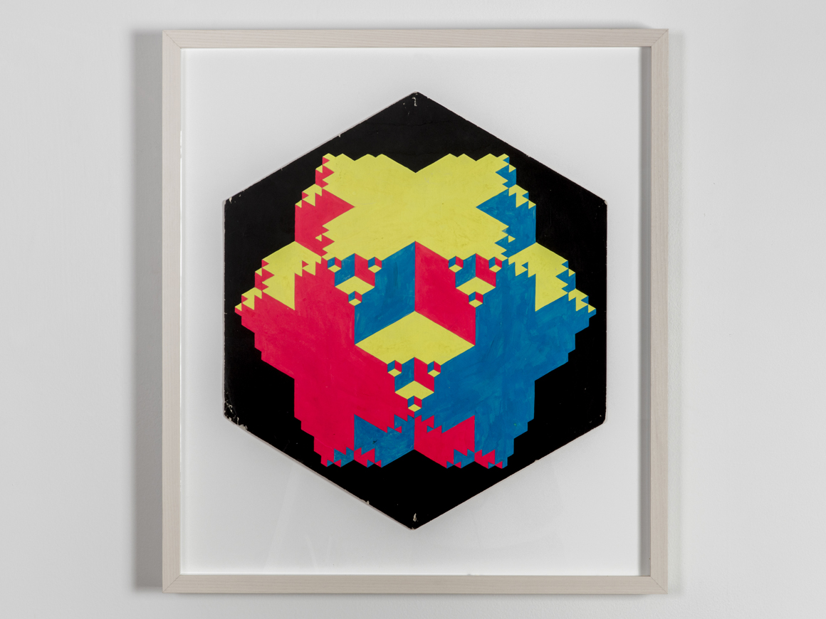 "<p><span class=""name"">Clark Richert</span><br><em>Convex-Concave</em><span class='media'>Dayglo on paper</span>edge: 12 3/8"", diam. 24 3/4"", width 21 1/2"" 