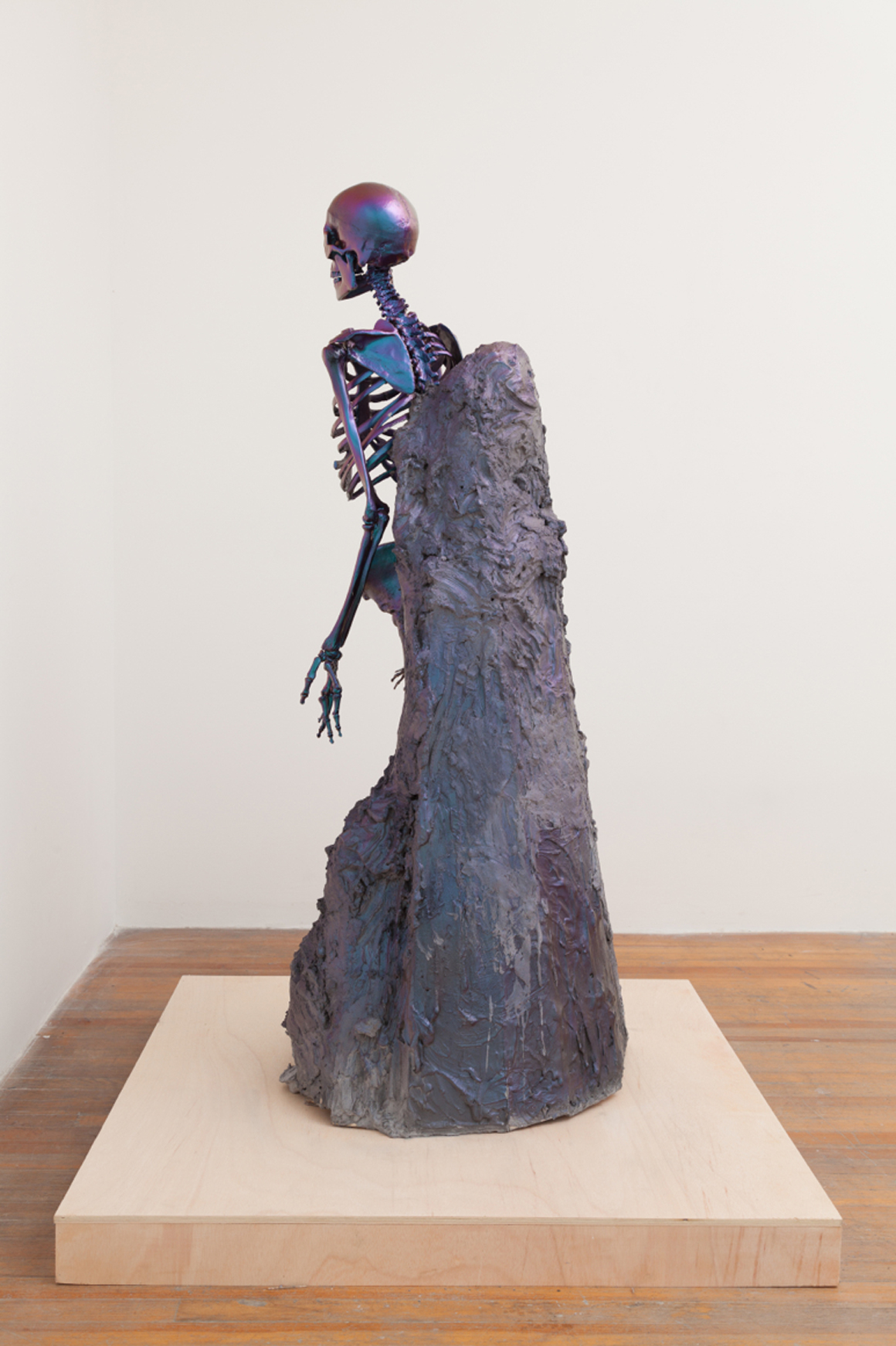 """<p><span class=""""name"""">Dmitri Obergfell</span><br><em>Our Lady of Anatomy</em><span class='media'>plaster, graphite, interference paint, polycarbonate,</span>65 x 24 x 26 in (165.1 x 61 x 66 cm)<br>2014<br><a class='inquire' href='mailto:info@gildargallery.com?subject=Artwork Inquiry DOBE0007&body=I am interested in finding out more about Our Lady of Anatomy by Dmitri Obergfell'>Inquire</a></p>"""