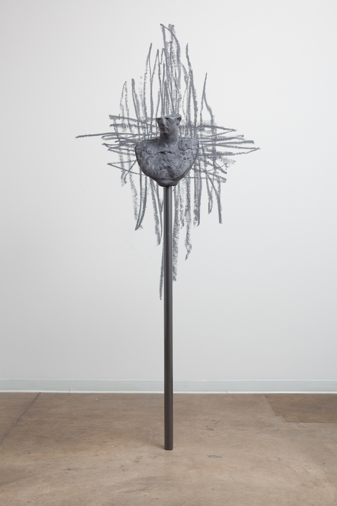 """<p><span class=""""name"""">Dmitri Obergfell</span><br><em>Statues Also Die (Whit)</em><span class='media'>Plaster, graphite, powder coated steel</span>90 x 65 x 56 in (228.6 x 165.1 x 142.2 cm)<br>2015<br><a class='inquire' href='mailto:info@gildargallery.com?subject=Artwork Inquiry DOBE0020&body=I am interested in finding out more about Statues Also Die (Whit) by Dmitri Obergfell'>Inquire</a></p>"""