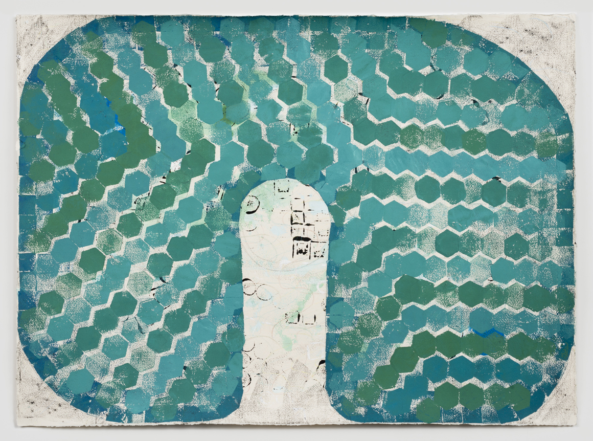 <p><em>Untitled (Jade I)</em><span class='media'>Block-printing ink, Sumi ink, watercolor, gouache, graphite, colored pencil, crayon and natural pigments on hand-made paper</span>26 x 19 in (66 x 48.3 cm)<br>22 1/8 x 29 in (56.2 x 73.7 cm) Framed (framed)<br>2017<br><a class='inquire' href='mailto:info@gildargallery.com?subject=Artwork Inquiry NPOL0002&body=I am interested in finding out more about Untitled (Jade I) by Noah Pollack'>Inquire</a></p>