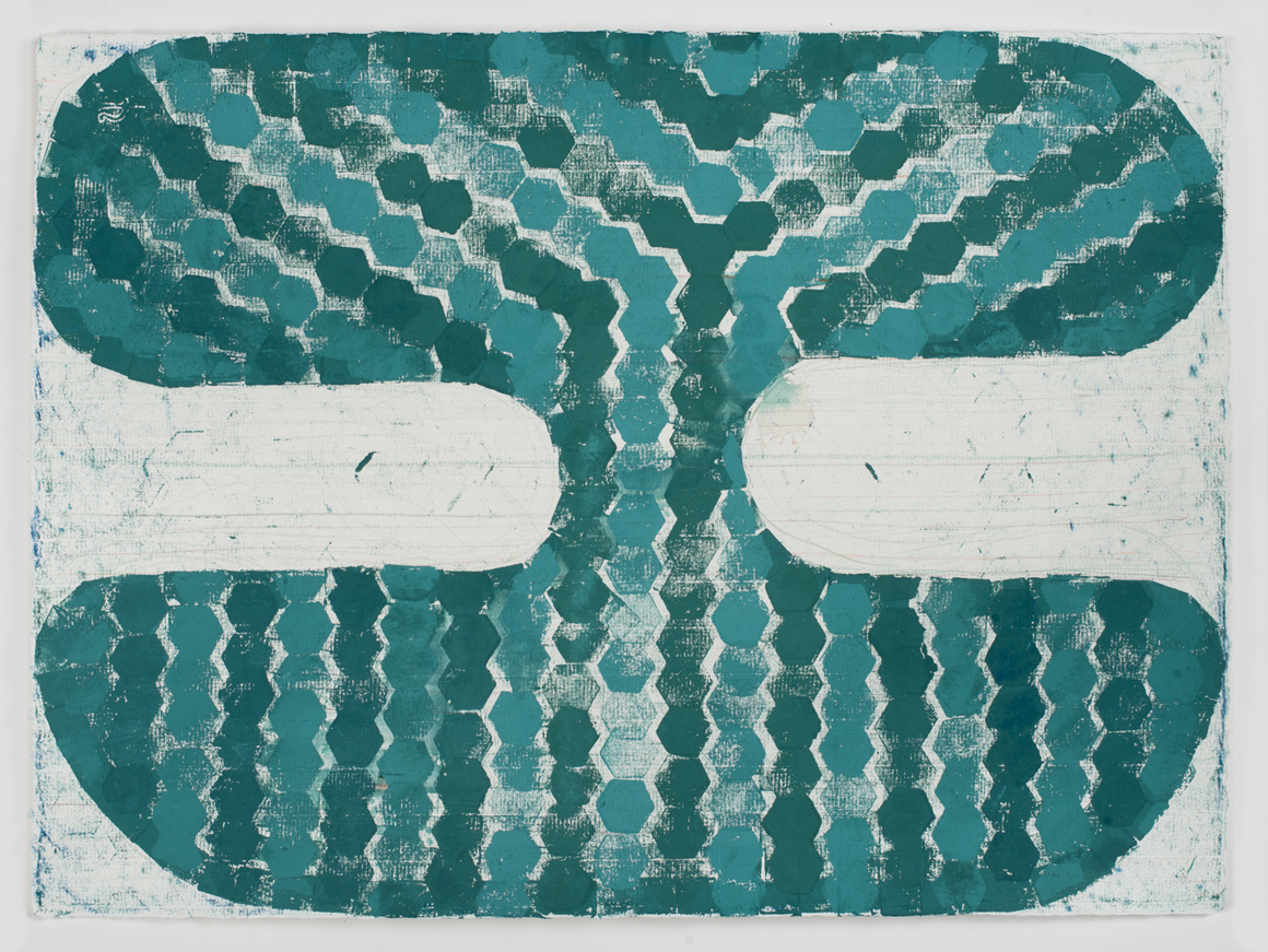<p><em>Untitled (Jade II)</em><span class='media'>Block-printing ink, Sumi ink, watercolor, gouache, graphite, colored pencil, crayon and natural pigments on hand-made paper</span>26 x 19 in (66 x 48.3 cm)<br>22 1/8 x 29 in (56.2 x 73.7 cm) Framed (framed)<br>2017<br><a class='inquire' href='mailto:info@gildargallery.com?subject=Artwork Inquiry NPOL0009&body=I am interested in finding out more about Untitled (Jade II) by Noah Pollack'>Inquire</a></p>