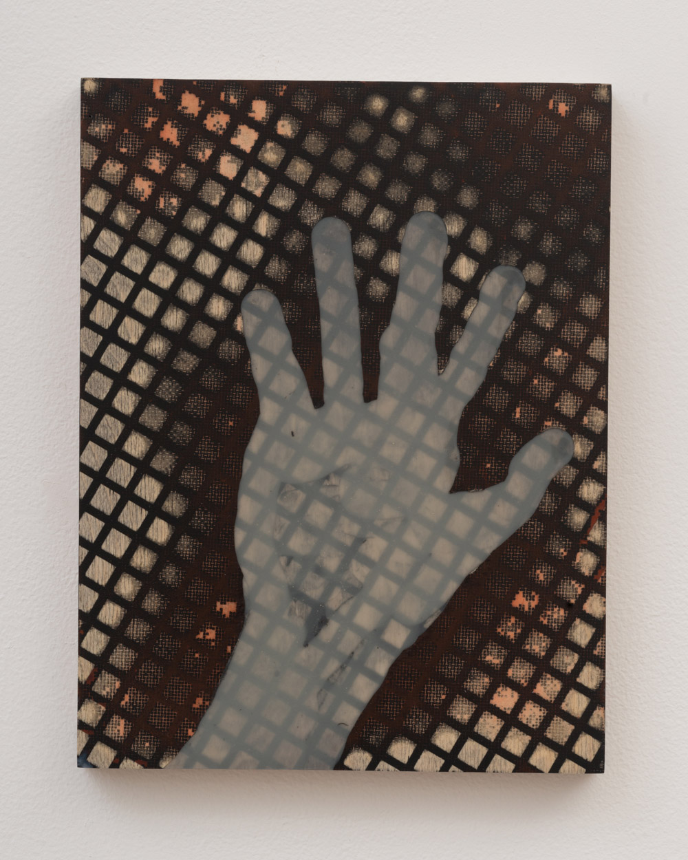 """<p><span class=""""name"""">Tommy Coleman</span><br><em>Out of Hand (Touching)</em><span class='media'>UV resistant epoxy resin, and phosphorescent pigment on panel</span>11 x 8.5 in (27.9 x 21.6 cm)<br>2018<br><a class='inquire' href='mailto:info@gildargallery.com?subject=Artwork Inquiry TCOL0013&body=I am interested in finding out more about Out of Hand (Touching) by Tommy Coleman'>Inquire</a></p>"""