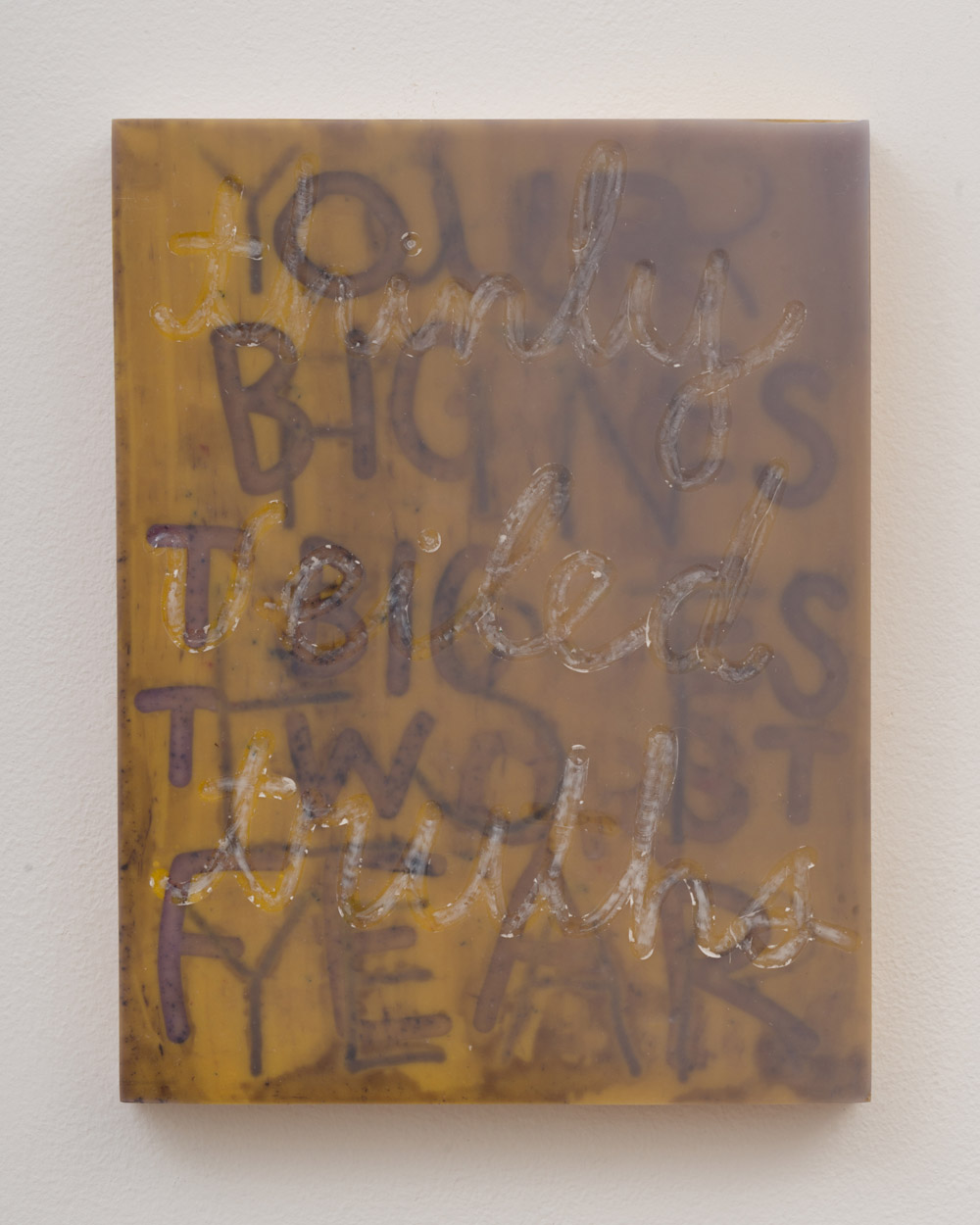 """<p><span class=""""name"""">Tommy Coleman</span><br><em>Thinly Vieled Truths</em><span class='media'>UV resistant epoxy resin, food coloring, crayon, and pigment on panel</span>11 x 8.5 in (27.9 x 21.6 cm)<br>2018<br><a class='inquire' href='mailto:info@gildargallery.com?subject=Artwork Inquiry TCOL0014&body=I am interested in finding out more about Thinly Vieled Truths by Tommy Coleman'>Inquire</a></p>"""