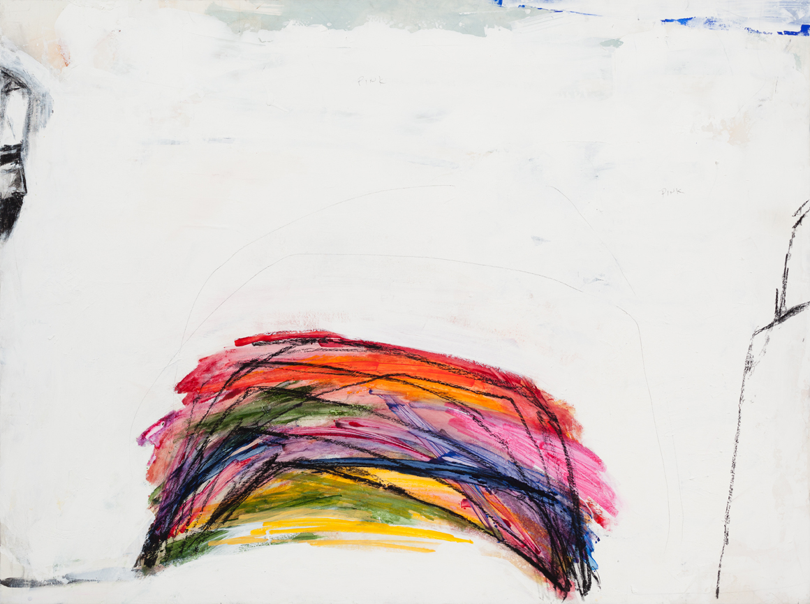 """<p><span class=""""name"""">William Stockman</span><br><em>Last Little Rainbow</em><span class='media'>Acrylic, pastel and graphite on panel</span>45 x 60 in (114.3 x 152.4 cm)<br>2015<br></p>"""