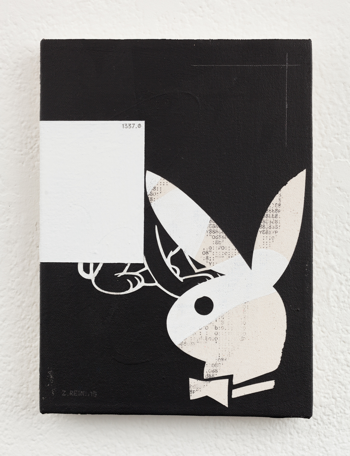 "<p><span class=""name"">Zach Reini</span><br><em>Playboy</em><span class='media'>Latex, ink transfer, matte medium, graphite on canvas</span>28 x 20.3cm 