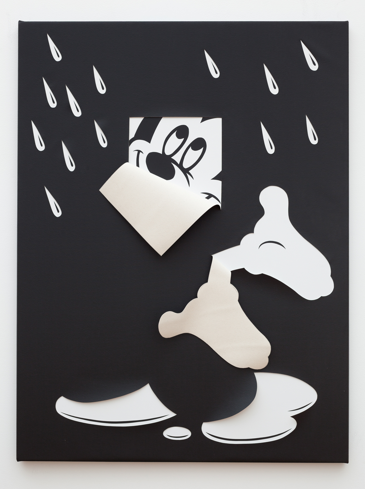 "<p><span class=""name"">Zach Reini</span><br><em>I'm Only Happy When It Rains</em><span class='media'>Latex on canvas, cut</span>48 x 36 in (121.9 x 91.4 cm)<br>2015<br><a class='inquire' href='mailto:info@gildargallery.com?subject=Artwork Inquiry ZREI0029&body=I am interested in finding out more about I'm Only Happy When It Rains by Zach Reini'>Inquire</a></p>"